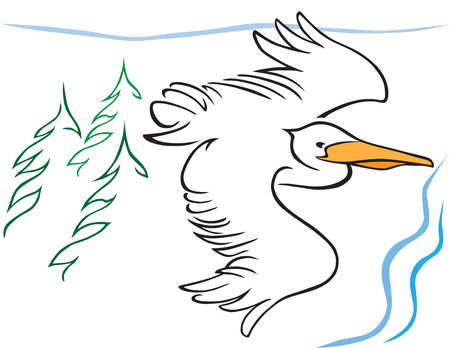 Stylized pelican flying over trees and ocean Ilustração