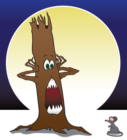 startled: Scary looking tree is startled by mouse