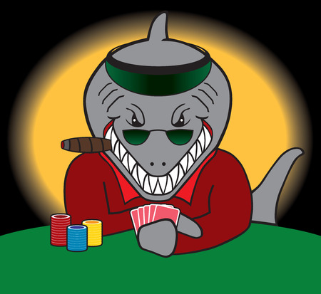 intimidation: Poker playing shark is facing off his opponent