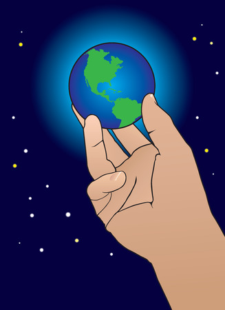 Large hand holding earth in it\'s grasp with stars in background Stock Illustratie