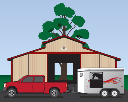 parked: Pickup with horse trailer parked in front of barn Illustration