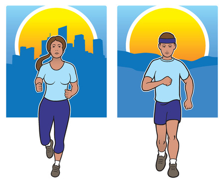 capri pants: Male and female joggers against rural and urban backgrounds
