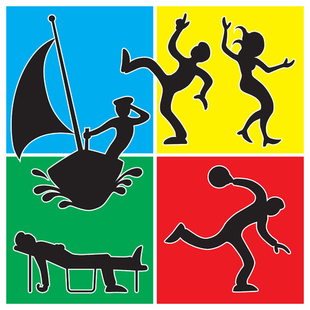 dozing: Cartoon people in silhouette against colorful backgrounds in various recreational activities
