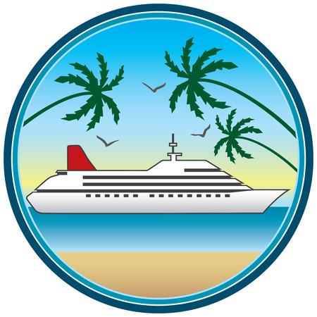 Omlijst cruiseschip in tropische setting