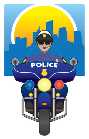 flashers: Motorcycle cop in pursuit Illustration
