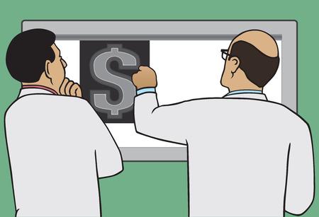 examining: Two doctors examining x-ray of dollar sign