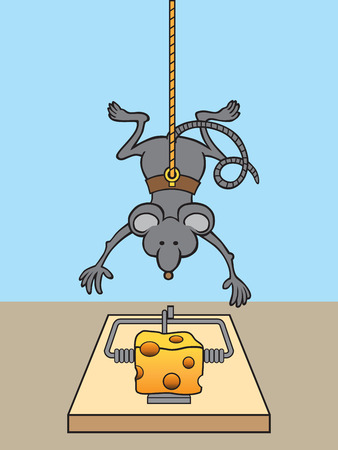 Clever mouse dangling from string to score cheese in trap