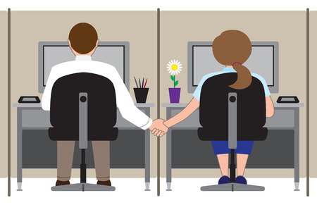 Two office workers in adjoining cubicles holding hands