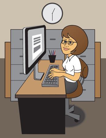 temp: Efficient female office worker at her desk
