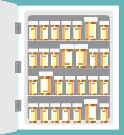 Medicine cabinet full of prescription drug bottles Illustration