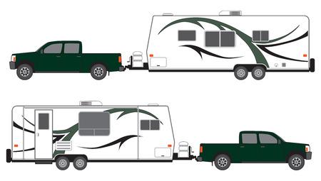 camioneta pick up: Recoger campamento tirando remolque visto desde ambos lados Vectores