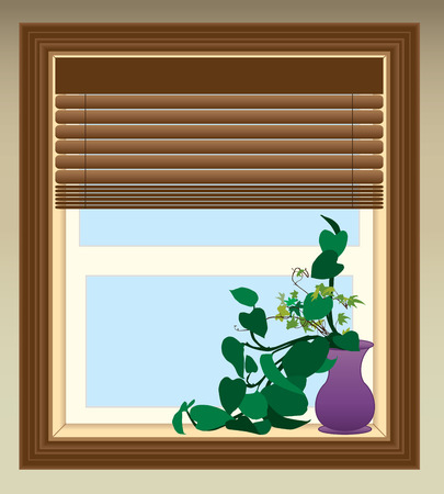 Plant in purple vase sitting in window on sunny day