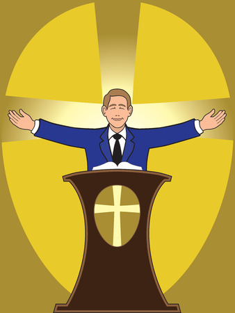Preacher standing behind podium delivering sermon