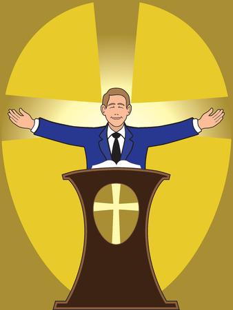 predicador: Predicador de pie detr�s de podio entrega serm�n