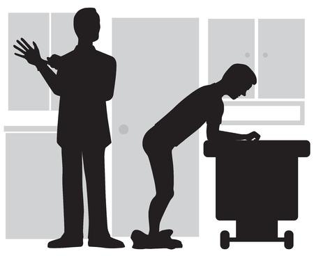 Doctor pulling on gloves preparing for prostate exam on patient Stock Illustratie