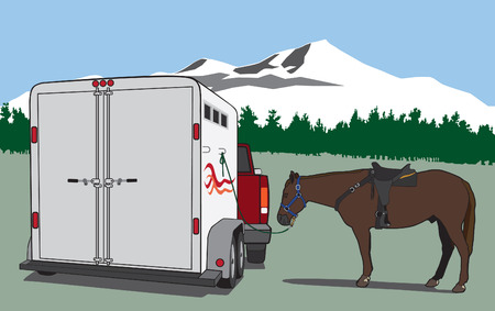 Pickup, horse and trailer in scenic western setting