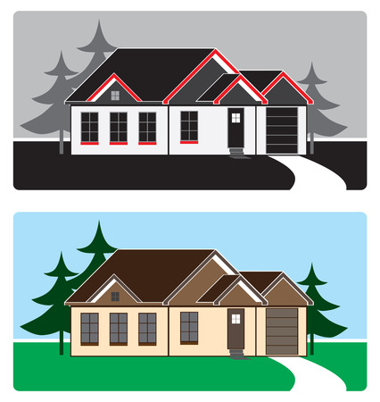 Stylized house in the country in two different color schemes