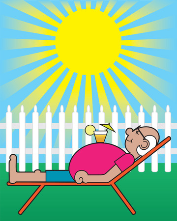 Mature gentleman with drink on stomach relaxing in sun