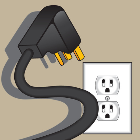 Spooky electrical plug hovering over terrified outlet  イラスト・ベクター素材