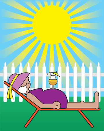 Mature lady lying in sun with drink