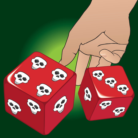 Hand tossing dice with skulls instead of dots