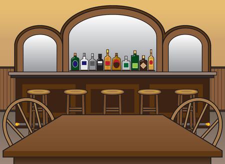 Interior del salón con botellas de alcohol y el espejo