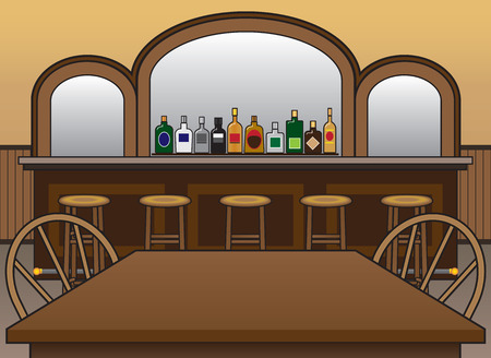 Interior of saloon with bottles of alcohol and mirror