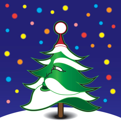 Evergreen with Santa features looking at stars