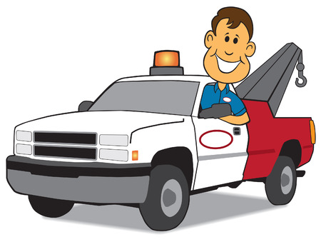 deliverance: Happy service man arriving with tow truck