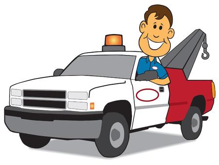 d�livrance: Heureux l'homme de service � l'arriv�e avec le camion de remorquage