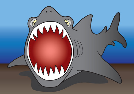 engulf: Open mouthed shark preparing to attack