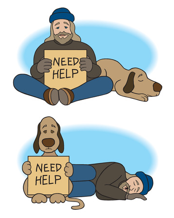 Homeless man with dog sharing begging duty