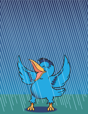 spirited: Happy bluebird singing in the rain Illustration