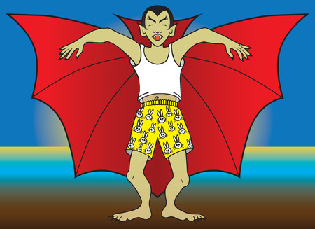 Vampire in boxer shorts sleepwalking Stock Illustratie