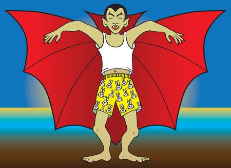 sleepwalker: Vampire in boxer shorts sleepwalking Illustration