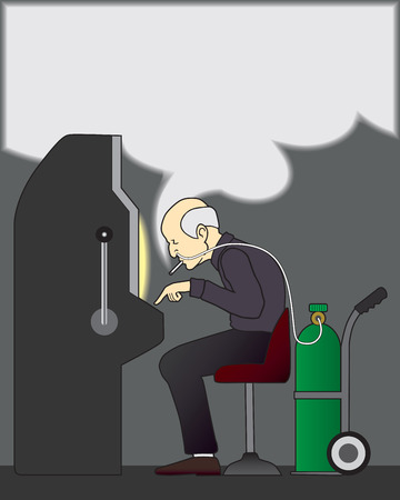 hooked up: Old gambler hooked up to oxygen tank smoking and playing slots