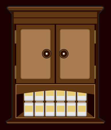 hinges: Spooky wooden cabinet at night