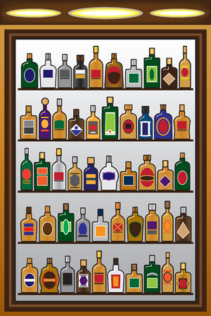 establishment: Five rows of liquor bottles in a drinking establishment