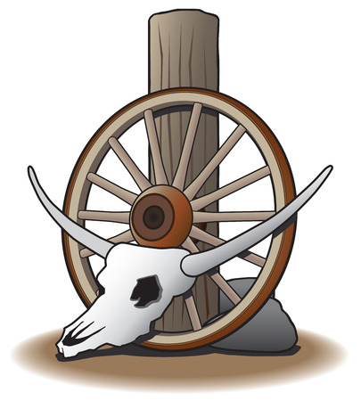 Steer skull leaning against wagon wheel which is leaning against post Ilustração