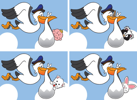 stork flying with bundle: Cartoon storks carrying different types of babies, including human, skunk, puppy and rabbit Illustration