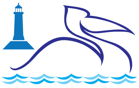 pelican: Stylized pelican shape floating in front of lighthouse shape Illustration