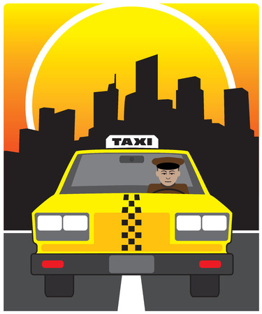 Taxi driving through city streets at sunset
