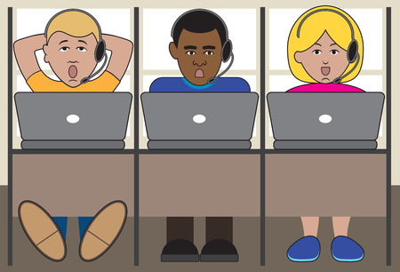 office cubicle: Three telemarketers at work in their cubicles