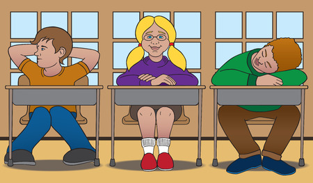 taught: Three students with varying degrees of attention to the lesson being taught