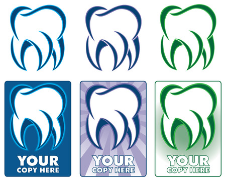 Six different variations of a stylized tooth