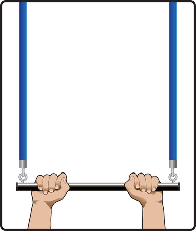 the trapeze: hands holding on to a trapeze bar Illustration