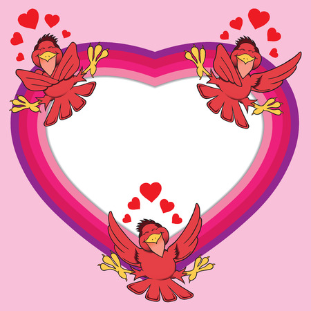 Red birds in love circling valentine heart