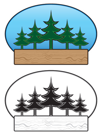 Sign with trees as main elements in color and black and white