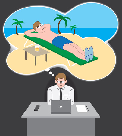 Office worker at his desk daydreaming about being on vacation