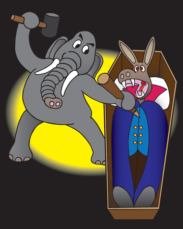 stake: Republican elephant preparing to drive stake through the heart of Democrat donkey
